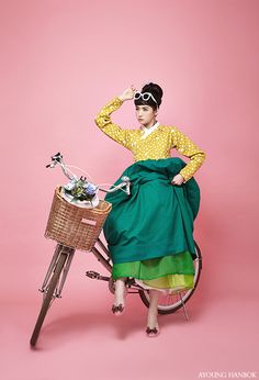 한복 Hanbok : Korean traditional clothes[dress] #modernhanbok Audrey Hepburn, ride a bicycle, AYOUNGHANBOK, Korean costume, 아영한복, 생활한복