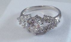 Ladies Clear CZ 18K White Gold Overlay Ring~Size 6-Free Gift Box