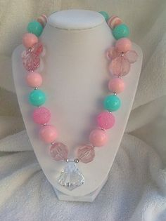 Pink and Teal Chunky Necklace