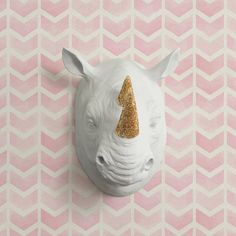 The Serengeti in Lavender + Gold Glitter Faux Rhino Head - Rhinoceros Fake Taxidermy Purple Ceramic Animal Resin Fauxidermy Plastic Wall Art Mint Gold, White Gold, Rhino Art, Plastic Art, Faux Taxidermy, Ceramic Animals, Purple Love, Rhinoceros, My Princess