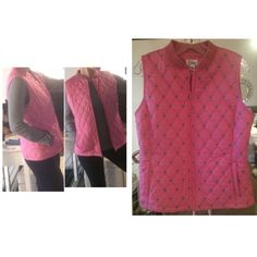 Lilly Pulitzer Quilted Vest Quilted with Palm trees stitched throughout, this is the perfect vest for cooler temperatures this fall! It is thinly stuffed, not very thick. It has 2 pockets and is in perfect condition! Lilly Pulitzer Jackets & Coats
