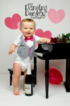 Grayson Tuxedo onesie or shirt. Gray vest and pink bow tie. You choose size.. $25.00, via Etsy.