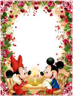 Photo Frames Romantic Dinner Of Mickey And Minnie Mouse Marcos Para Fotos Fotos De Aniversario Marcos Para Fotos De Navidad