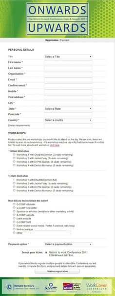 Registration Form Design for ING Direct Event Management - return to work form