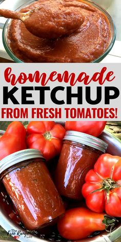 Are you ready to learn how to make your own condiments? Learn how to make your own ketchup at home using fresh tomatoes. It's so much better than store bought and a great way to preserve tomatoes! Including canning directions!