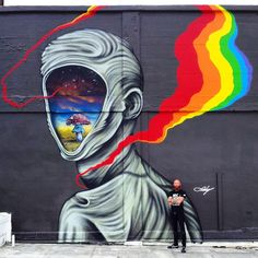 Ernest Doty just sent us a series of fresh images from his newest mural which was recently finished on the streets of Oakland in California.