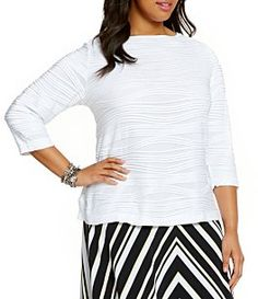 Allison Daley Plus Wide Crew Neck Pleated Knit Top