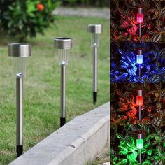 6x Solar LED Color Changing Path Light Stainless Sliver
