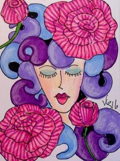 """Aceo  Original  ATC OOAK     """"VINTAGE THOUGHTS    """"   pencil/ink #OutsiderArt"""