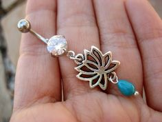 Lotus Belly Button Ring Jewelry Turquoise Flower Rose Navel Piercing Bar Barbell on Etsy, $14.00
