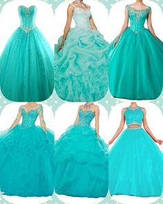 Quinceanera Guide - Turquoise Quinceanera Dresses In Autumn Shades. Pick out one of these Turquoise quinceanera gowns for the big day of yours! Strapless Dress Formal, Prom Dresses, Formal Dresses, Turquoise Quinceanera Dresses, Turquoise Dress, Looking For Women, Dress For You, Dress Patterns, Ball Gowns