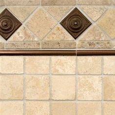 Chiaro Travertine And Copper Metal Backsplash Tile | MSI