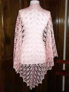 """Wisteria"" crocheted lace shawl in wool fingering weight yarn (pattern by Vicki Mikulak)"