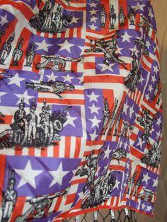 Vintage 70's Red White & Blue Military Print Silk by POPWILDLIFE, $12.00