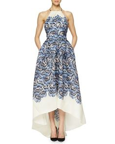 Lela Rose Halter Feather-Print High-Low Gown