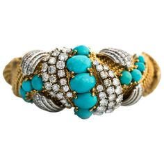 Large Ornate Retro Persian Turquoise Diamonds Gold Bangle Bracelet | From a unique collection of vintage bangles at https://www.1stdibs.com/jewelry/bracelets/bangles/