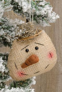 KP Creek Gifts - Burlap Snowhead Ornament
