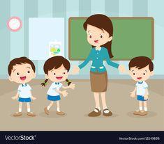 Teacher and students in classroom vector image on VectorStock Student teaching Student cartoon Teacher teaching students