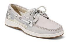 Sperry Women's Bluefish 2-Eye Boat Shoe in Light Grey Nubuck $85