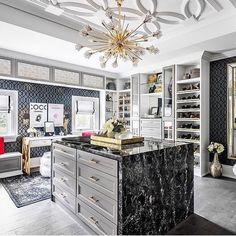 open shelving in this California Closets–designed space Dream Closet Design, Room Design, Interior Design, Home, Interior, Closet Decor, Gorgeous Closet, Dressing Room Design, Home Decor