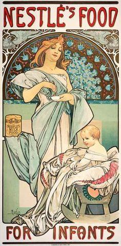 Alphonse Mucha - Nestle''s Food for Infants. Plakat, 1897, fuer Babynahrung der Firma Nestle.