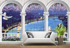 tapisserie numérique paysage trompe l'oeil papier peint 3d personnalisé la nuit bleu sur la Donau