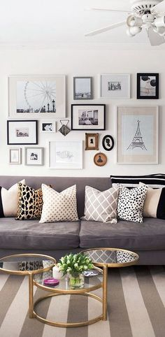 Nothing is chic then a gray room with some accent colors in black and white…