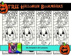 "FREE DOWNLOAD! 1 Free, hand drawn, coloring bookmark for HALLOWEEN. A sample of my hand drawn, zen, cartoon coloring bookmarks and sheets! Print, enjoy and check out my other listings! Just Print and GO!These are great for time savers, to use as an ""early finisher"" activity, or HALLOWEENactivity."