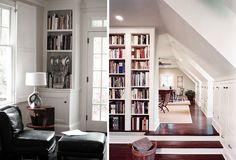 I love the attic on the right, with the built-in bookcases, hardwood floors, and kneewalls.