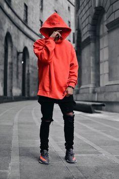 look masculino vermelho e preto