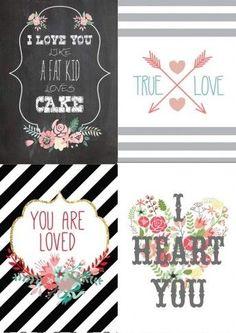 Frases para el día de San Valentín con colección de tarjetas imprimibles!!! Imperdibles!!
