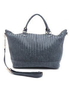 blue woven faux leather weekend bag