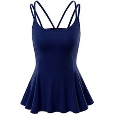 Doublju Women Sleeveless Casual Strape Designed Flare Top ($13) ❤ liked on Polyvore featuring tops, blue tank, blue top, blue tank top, blue sleeveless top and sleeveless tank tops