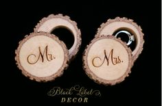 Rustic engraved tree stump ring boxes by Black Label Decor