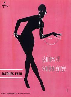 Jacques Fath 1956 Lingerie Girdle, René Gruau