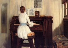 William Merritt Chase (American, 1849-1916)  Mrs. Meigs at the Piano Organ, 1883