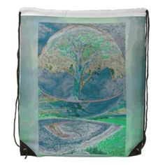 Tree of Life in Pale Green Colors Drawstring Backpack