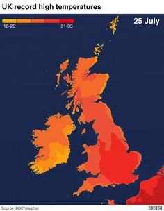 UK weather: The UK's record-breaking heat in maps and charts - BBC News Bbc Weather, Severe Weather, Weather Warnings, Lightning Strikes, Previous Year, Thunderstorms, Bbc News, About Uk