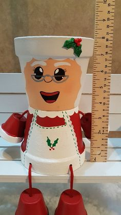 Mrs Claus Clay Pot People Christmas Planter and Candy Bowl Clay Pot Projects, Clay Pot Crafts, Diy Clay, Christmas Crafts, Christmas Decorations, Christmas Ornaments, Holiday Decor, Snowman Ornaments, Shell Crafts