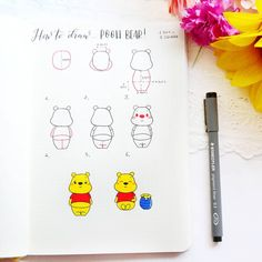 Tiggerific Winnie the Pooh inspired Bullet journal spreads Bullet Journal Notebook, Bullet Journal Spread, Bullet Journal Ideas Pages, Bullet Journal Layout, Bullet Journal Inspiration, Winnie Pooh Dibujo, Winnie The Pooh Drawing, Easy Doodle Art, Cute Easy Drawings