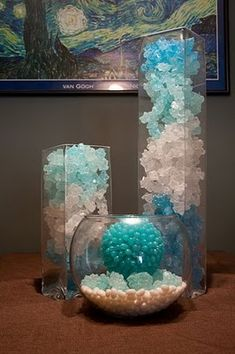 rock candy & jelly beans decor -- cool for an under the sea party