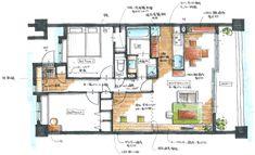 リノベーション後 Craftsman Floor Plans, House Floor Plans, Room Interior, Interior Design, Build Your Own House, House Inside, House Layouts, Small Apartments, Ideal Home