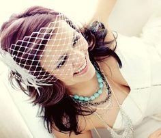 Bridal Birdcage Veil Wedding Hair Bandeau Net Fashion by YJDesign, $39.00