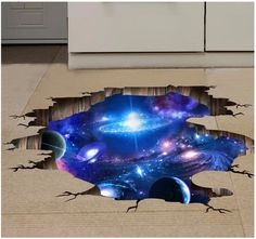 3D Outer Space Planet Wall Stickers for kids room  Beautiful Galaxy Stickers muraux Decor muursticker vinilos paredes poster * Offer can be found by clicking the image