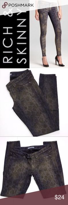 "Rich & Skinny Snakeskin Skinny Jeans ✔️Inseam: 29"" ✔️42% Lyocell•33% Cotton•15% Rayon•9% Polyester•1% Spandex ✔️Excellent Used Condition ✔️1718-10 Rich & Skinny Jeans"