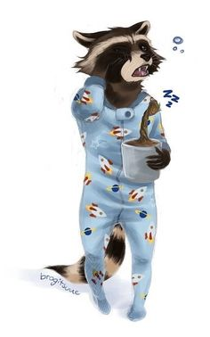 Rocket in footsie pjs with baby groot Raccoon Drawing, Raccoon Art, Racoon, Fox Art, Rocket Raccoon, Animals And Pets, Cute Animals, Baby Groot, Cute Illustration