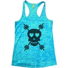 Skull and Weightbar Great Seller Womens Funny Gym Burnout Tanktop... ($20) ❤ liked on Polyvore featuring tops, white and women's clothing