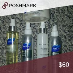 5 Phyto hair products All full size. Will sell as a bundle for a discount or will separate.   * Color protect radiance mist - new *phyto volume acif spray volume-new *phytokeratine repairing thermal protectant spray - less than half *phyto huile supreme rich smoothing oil - almost full (used about 5 times) *phytokeratine ultra repairing hair mask for weakened, damage hair - new  ***  Listing is for all 5 products sold at discount. Ask for individual pricing *** Phyto Makeup