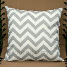Grey & white chevron cushion
