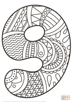 Number 9 Zentangle | Super Coloring